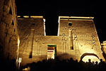 Assouan - Temple of Isis at night on the island of Philae