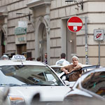 Rome - Taxi driver and traffic jam
